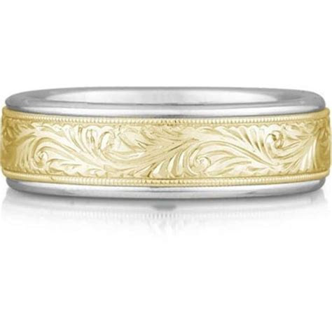Apples of Gold Engraved Paisley Ring 14k Two tone Men's