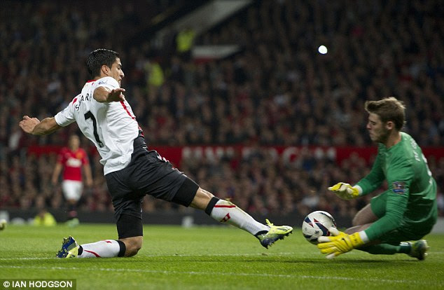 Saved: The Uruguay striker nearly got in on goal in the first half but was shut out by United keeper David De Gea