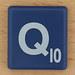 Scrabble White Letter on Blue Q