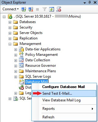 send database mail test email from ssms