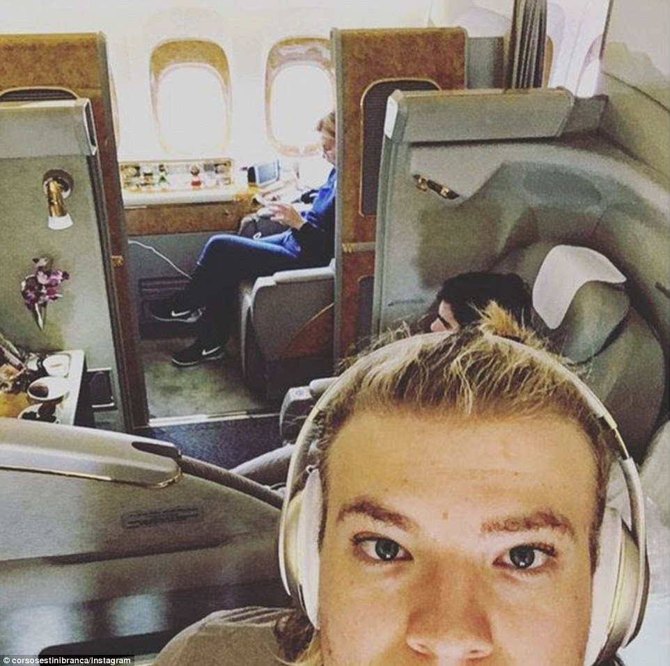 Corso Sestini Branca bypassed fighting for arm space and trading for the window seat with his own private first class cubicle en route to a holiday in Thailand