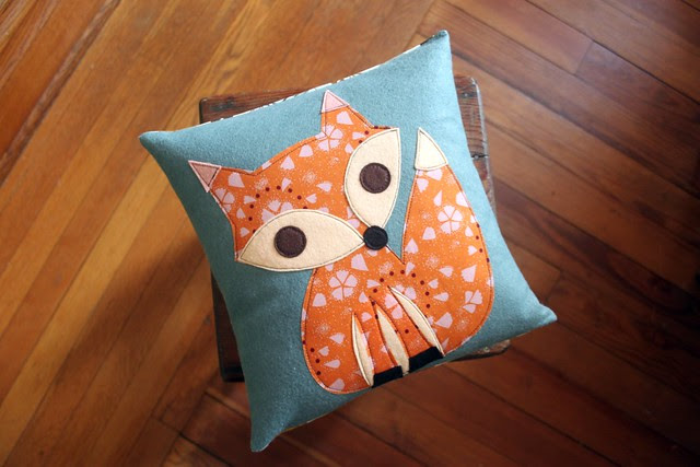 Fall Fox Applique Pillow