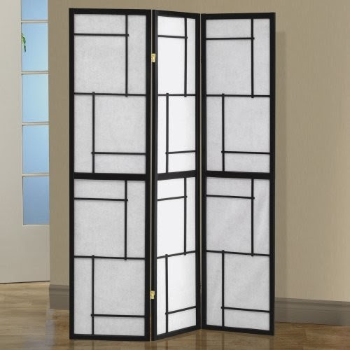 Black Wood Framed 3-Panel Screen - contemporary - screens and wall ...