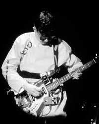 Mark Mothersbaugh with Hagstrom PB-24-G & duct taped pedals