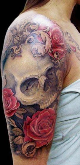 Red Roses And Skull Tattoo On Half Sleeve