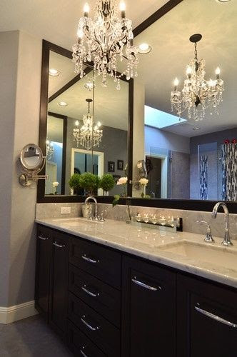 love - wonder if I can convince my husband to let me have a chandelier in the bathroom