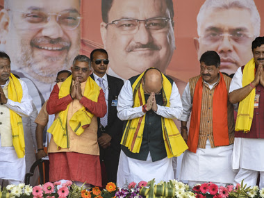 Union Home Minister Amit Shah during a rally at Shaheed Minar Ground in Kolkata, Sunday, 1 March, 2020. State BJP President Dilip Ghosh, BJP national general secretary Kailash Vijayvargiya, National Secretary Rahul Sinha and others are also seen. PTI