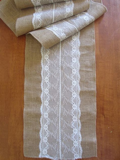 Burlap Hessian Lace Trimmed Table Runner