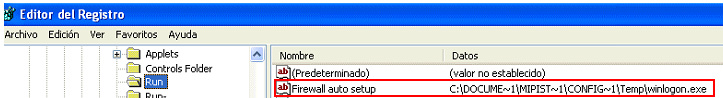 Clave maliciosa creada por un malware
