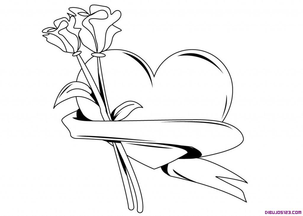 Corazon Y Rosas Para Colorear