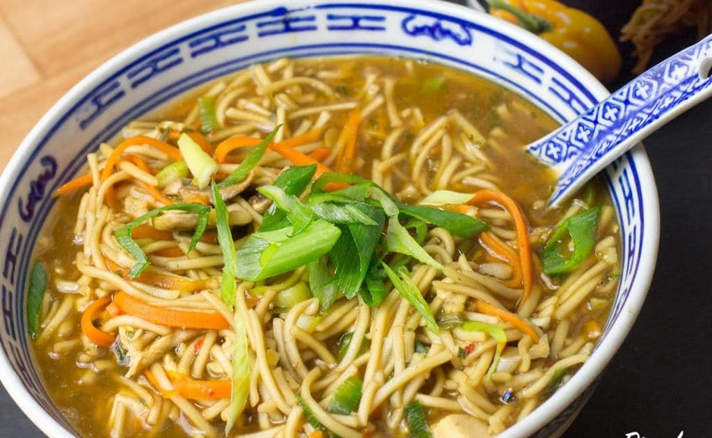 teriyaki chicken ramen soup  street food asian style