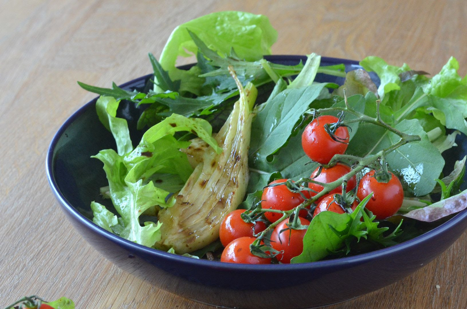 Garden Salad with Grilled Fennel, Tomato & Balsamic