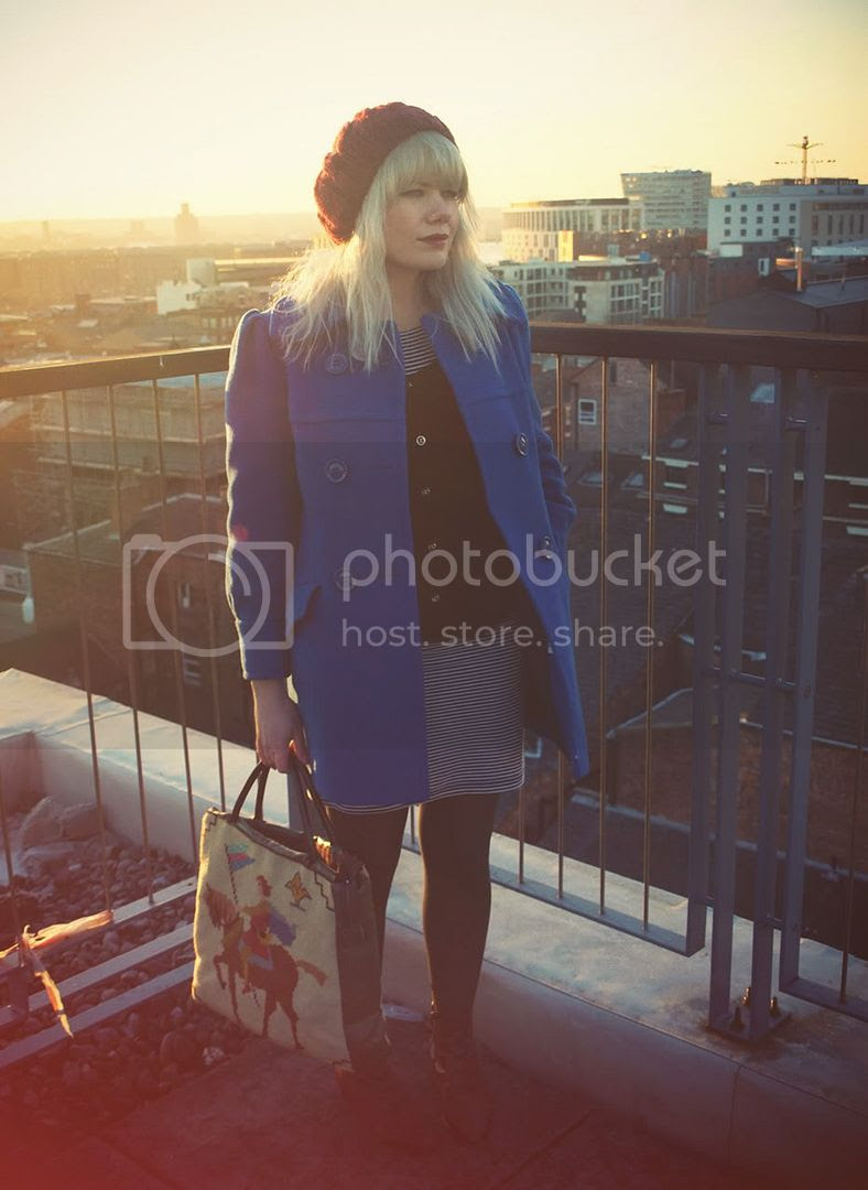 """Attic people what I wore outfit of Blue Pea coat"""" Title="""