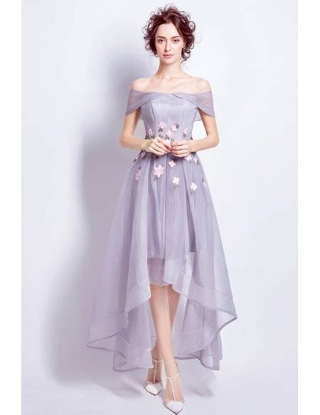 Off Shoulder High Low Wedding Dresses Tea Length Tulle