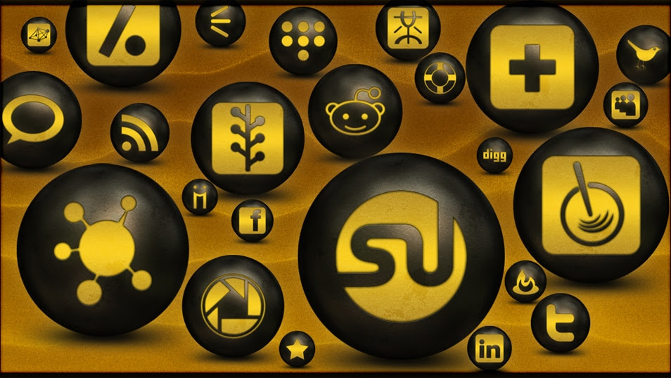 108 Antique Glowing Copper Orbs Social Networking Icons