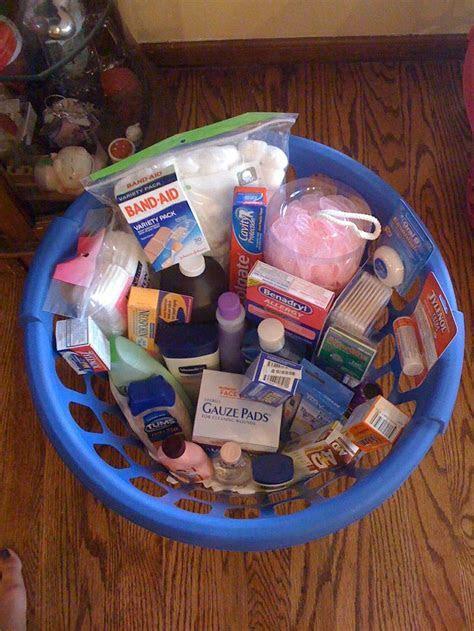 Wedding Shower Gift Basket full of medicine cabinet