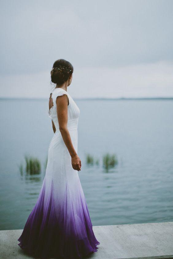 einzigartige ombre Hochzeit Kleid mit einem lila Rock machen Sie eine Aussage