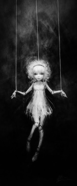 WE ARE PUPPETS BUT WHO IS OUR PUPPET MASTER? THERE IS ALWAYS SOMEONE PULLING OUR STRINGS, WHETHER THEY ARE BOSS, SPOUSE, PARENT… WHEN DO WE BREAK FREE? HOW DO BREAK FREE? IS IT ONLY IN DEATH?