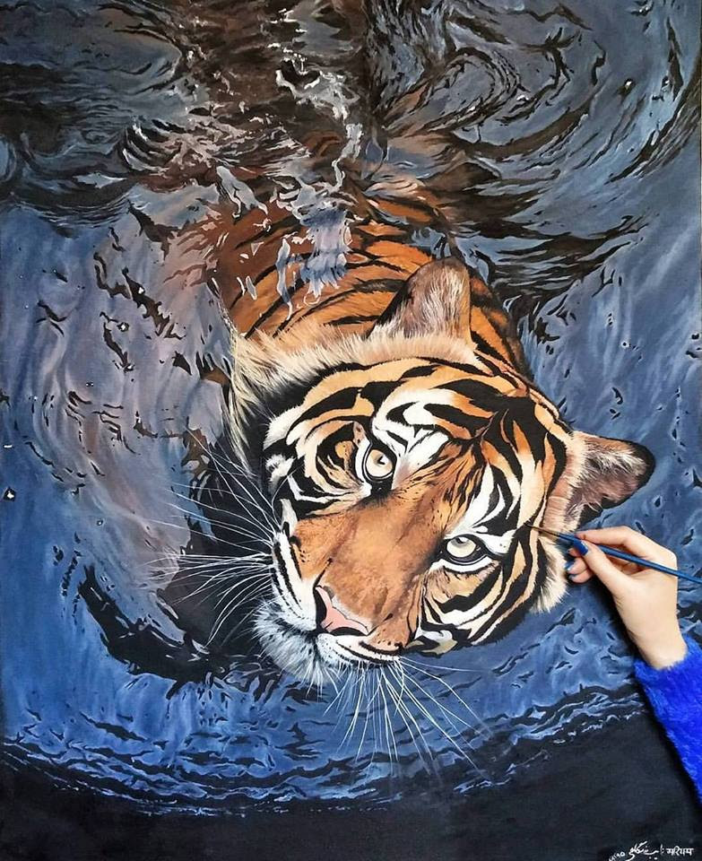 Realistic Tiger Oil Painting by Maryam Nayeb