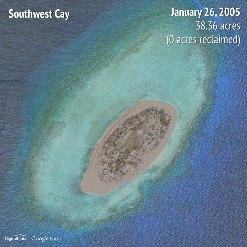 Southwest Cay 2005 | 0 acres reclaimed