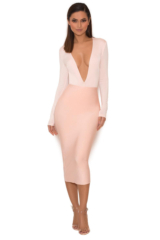 clothing  bodysuits  'lorenza' pink silky jersey deep v