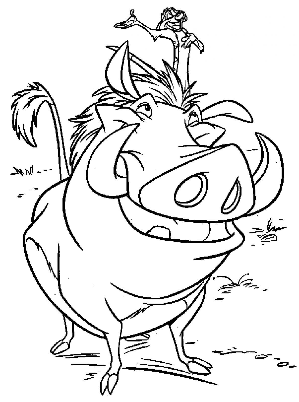 Coloriage Timon Et Pumbaa à Colorier Dessin Imprimer Sketch Coloring