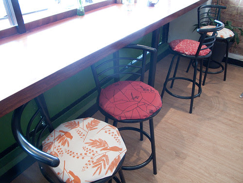 Stools covered in our canvas weight fabrics