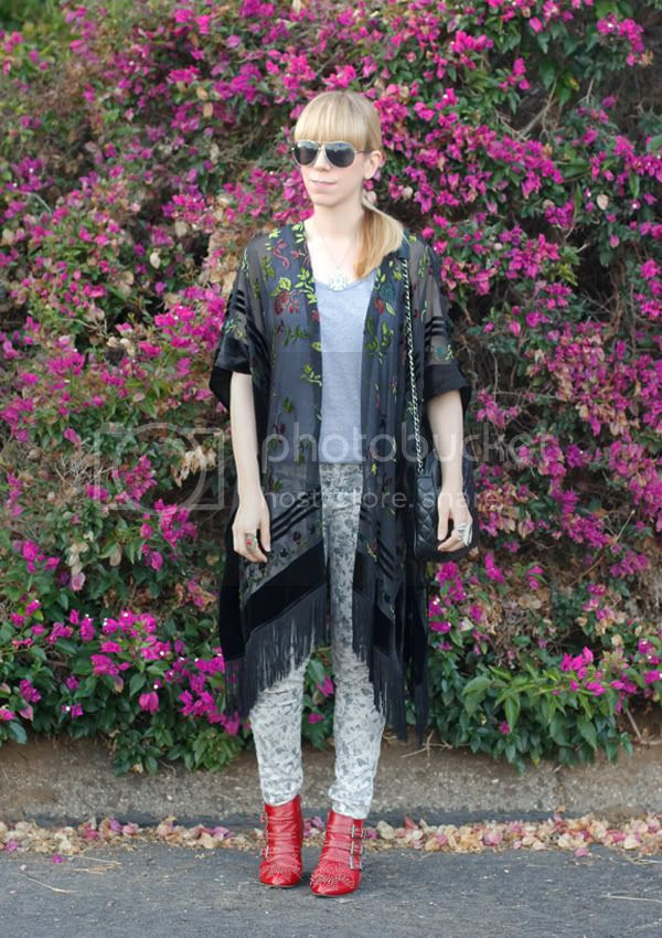 J Brand floral jeans, staring at stars velvet burnout fringe kimono, Jeffrey Campbell Starburst studded boots, Los Angeles fashion blogger