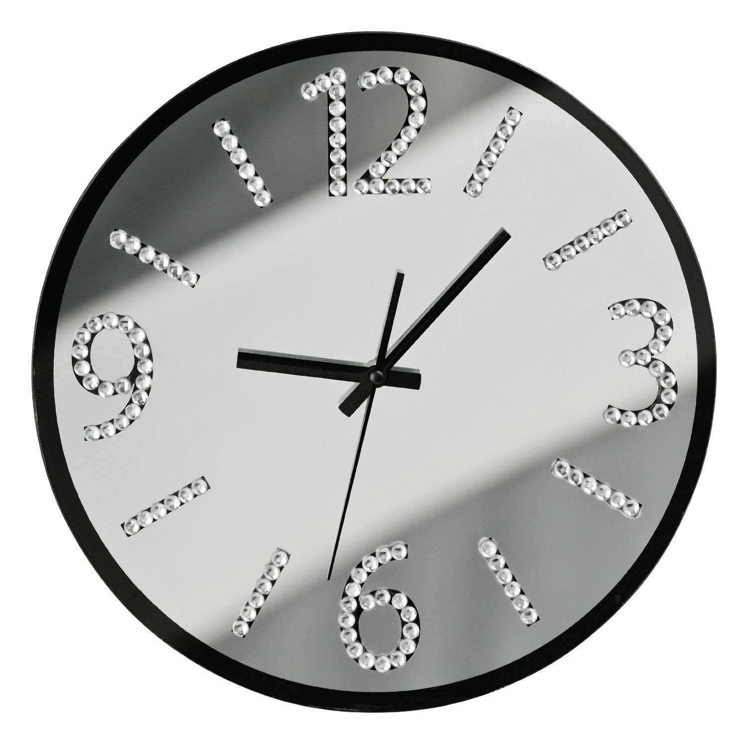 WALL CLOCK WITH DIAMANTE STYLISH NUMBERS SILENT SWEEP ...