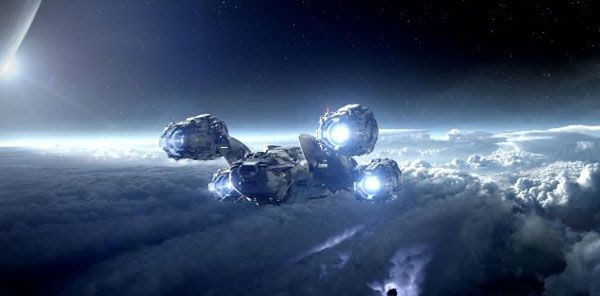 The ship Prometheus arrives at the distant moon LV-223 in PROMETHEUS.