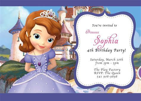 Sofia The First Birthday Party Invitations   Best Party Ideas