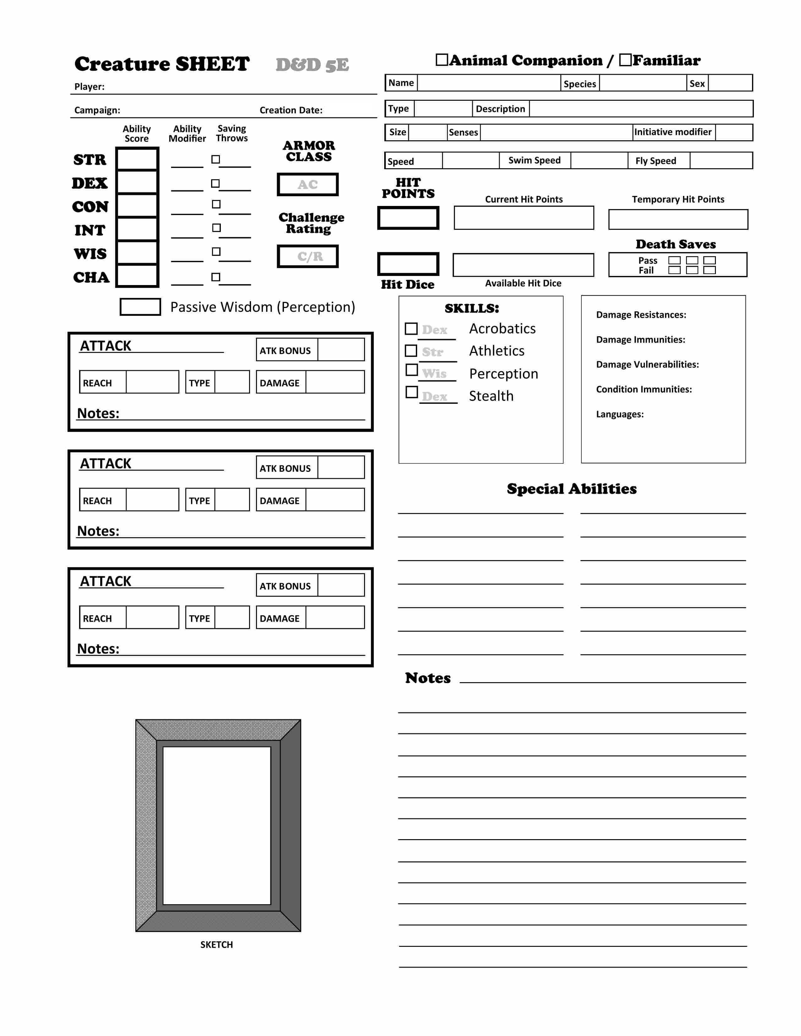 D&D 5e – Animal Companion / Familiar Character Sheet | Dungeon ...