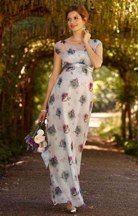 Maya Maternity Gown Long Dusky Floral   Maternity Wedding