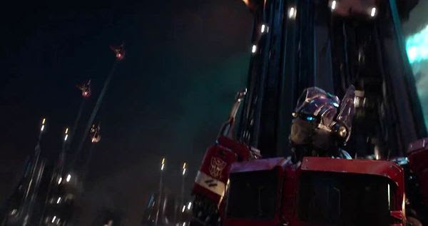 Optimus Prime (once again voiced by Peter Cullen) on his home world of Cybertron in this screenshot from BUMBLEBEE.