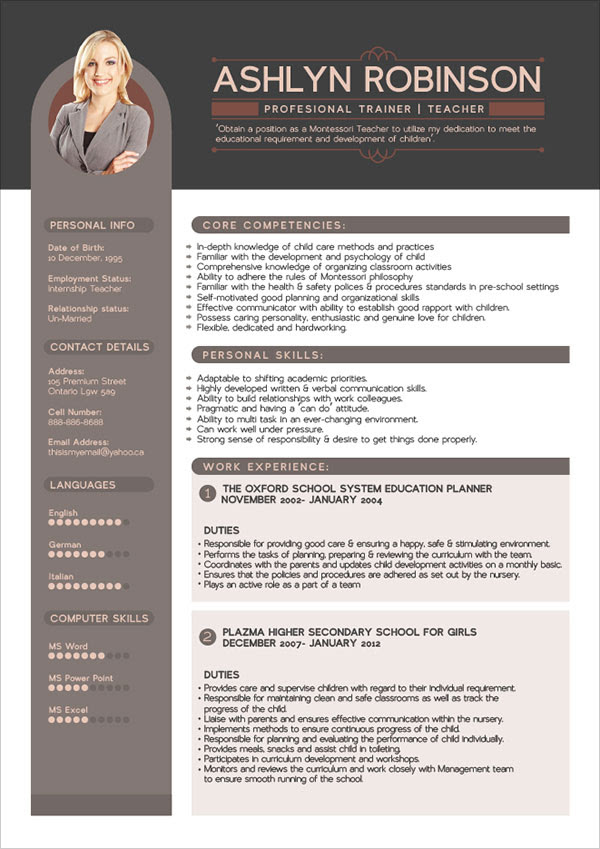 Free Premium Professional Resume CV Design Template with Best Resume Format