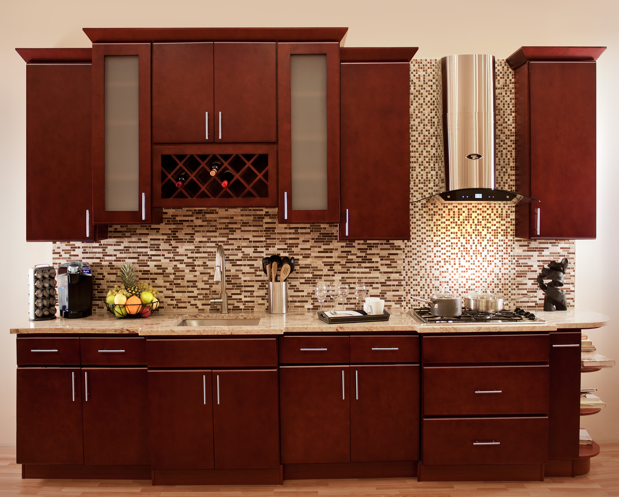 Modern Cherry Wood Kitchen Cabinets Kitchens Ideas Window Treatment For Bedroom Atmosphere Small Medium And White Dark Designs Apppie Org
