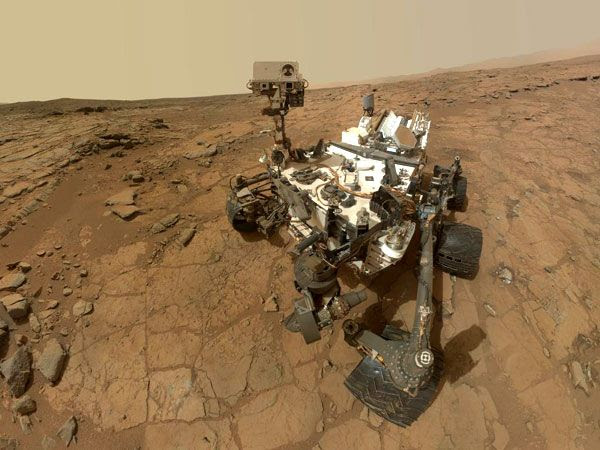 A new self-portrait of NASA's Curiosity Mars rover, taken with a camera on her robotic arm on February 3, 2013.