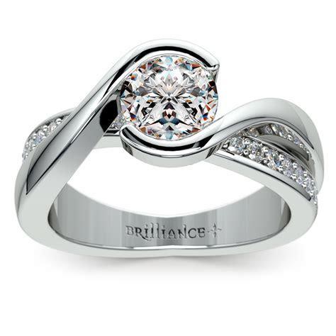 Bezel Diamond Bridge Engagement Ring in Platinum