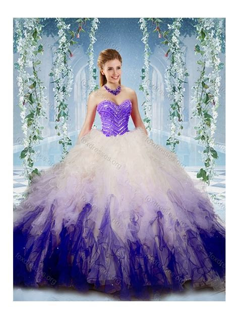 Cute Gradient Color Big Puffy Quinceanera Dress with