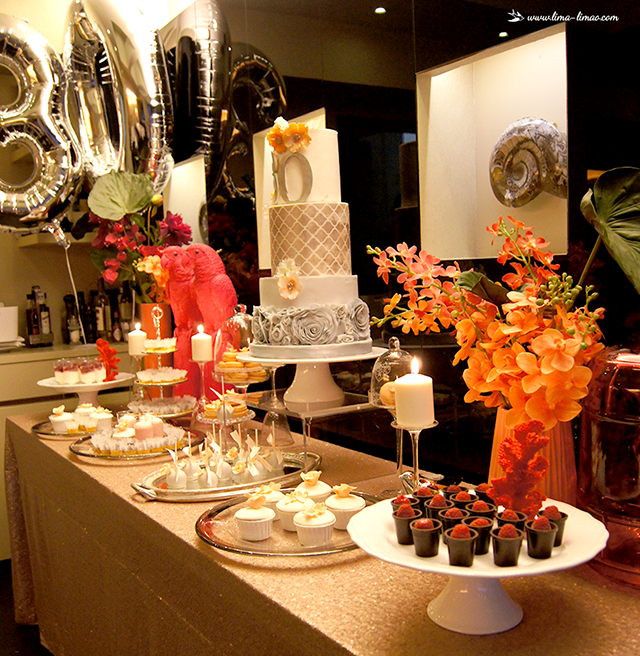 A Tropical Themed 30th Birthday Party Dessert Table