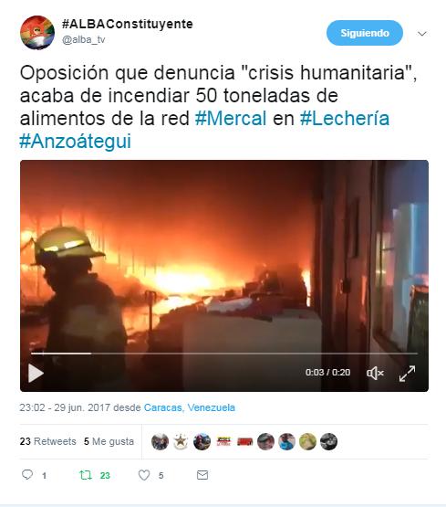 Resultado de imagen para QUEMADO UN CENTRO DE ACOPIO DE ALIMENTOS EN LECHERIAS
