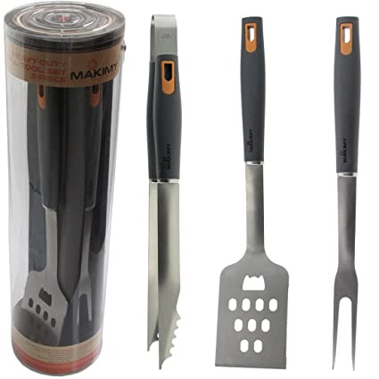 Makimy 3-Piece Professional-Grade Heavy Duty Extra Strong Stainless-Steel Barbecue Tool Set - Gift Box - Best Value Grill Accessories With Non-Slip Handles on Amazon - Perfect for Smokers, Charcoal, Gas, Electric and Infrared Outdoor Grills - The Ideal Gift Idea for Man