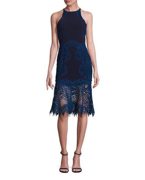 Jonathan Simkhai Lace Overlay Fit and Flare Silk Dress