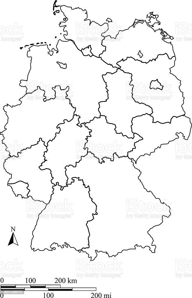 Deutschlandkarte Kontur Vektor Mit Waage In Einer ...