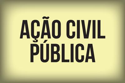Arte retangular mostra, ao fundo, várias pessoas desfocadas atravessando uma faixa de pedestre. Em letras amarelas está escrito Ação Civil Pública