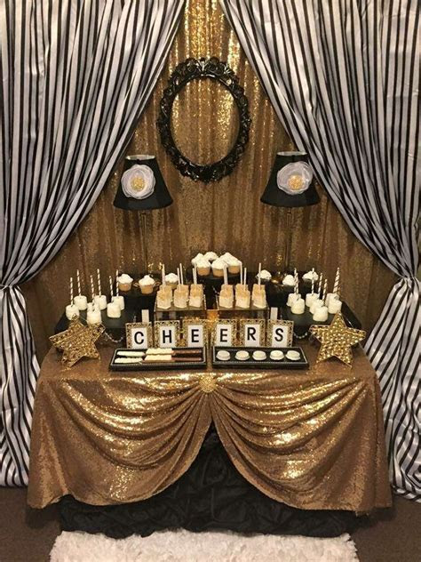 Black and White Stripes with Gold Sparkle Birthday Party