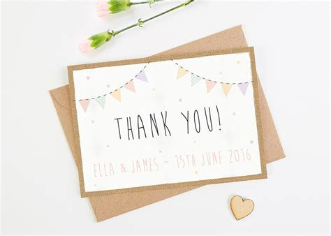 Burlap Pastel Bunting Wedding Thank You Cards   norma&dorothy