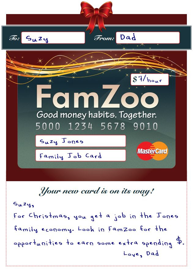 "FamZoo Sample ""Payroll Card"" Announcement"