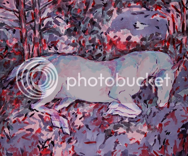 Chutte du cheval, dessin de pierre guilhem aquarelle 2012 car si l'on croit que c'est vieux cela reste contemporain c'est une chute de cheval ou un saut cela dpend