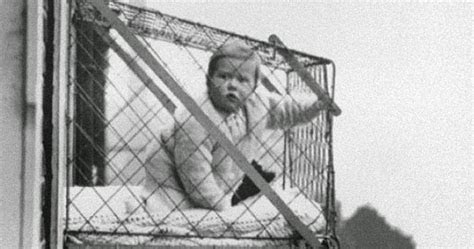 vintage everyday: Baby cages in an apartment building, ca